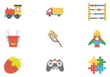 Children and Kids Flat Icons Pack. This pack of flat icons consists of wide range of kids, babies, and children accessories. This set has toys, baby wears Royalty Free Stock Image
