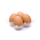 Pack of four brown eggs Royalty Free Stock Photography