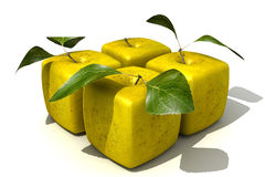 Pack of four cubic apples Stock Image