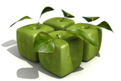 Pack of four granny Smith cubic apples Royalty Free Stock Images