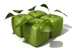 Pack of four granny Smith cubic apples blurred Royalty Free Stock Images