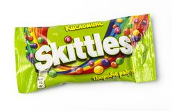 Pack of Fruit Skittles. Chisinau, Moldova, April 21, 2018: Pack of Fruit Skittles over a plain white background, with clipping path. The Skittles sweets brand is Stock Photos