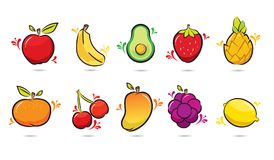 10 Pack Fruits Design Cartoon royalty free illustration