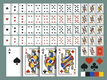Playing cards for Poker and Blackjack. Original full deck in modern line art. 54 card with illustrations of King, Queen, Jack and royalty free illustration