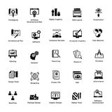 Glyph Icon Design Set Web and Graphic Designing. This is a pack of glyph icon designs for web and graphic designing. The creative idea of merging both concepts Stock Image