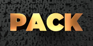 Pack - Gold text on black background - 3D rendered royalty free stock picture Stock Image