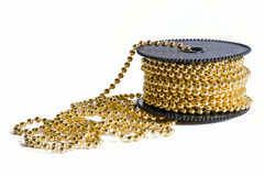 Pack of golden decoration chain Stock Image