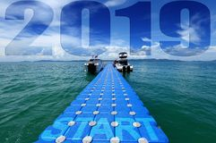 Pack Group of Blue Cubes Float 2019 happy new year royalty free stock photography
