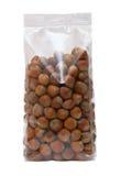 Pack of hazelnuts. Pack of ripe hazelnuts. Isolation Stock Image