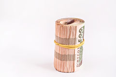 Pack of 500 hryvnia rolled Stock Photos