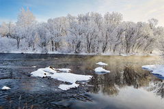 The pack ice and soft rime scenery Stock Photos