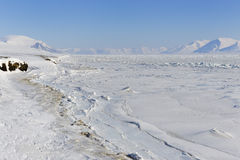 Pack ice. View on with pack ice frozen Van Mijenfjorden, Spitsbergen Royalty Free Stock Image