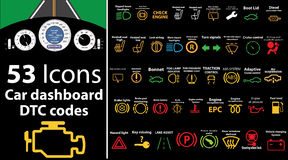 53 pack icons - Car dashboard, dtc codes, error message, check engine, fault, dashboard  illustration, gas level,. Vector illustration representing icons of car Royalty Free Stock Images