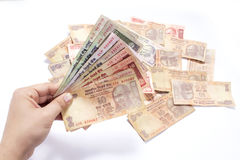 Pack of indian currency notes lying on the table Stock Photos