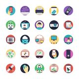 A Pack of Internet Flat Icons. The creative and colorful pack on internet flat icons. From wifi router symbol to source coding, network connections, satellite Stock Photo