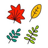 Pack of leaves handdrawn in minimalistic style stock illustration