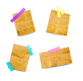 Pack of little pieces of paper held by an adhesive. View of a Pack of little pieces of paper held by an adhesive stock photos