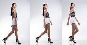 Pack of Little Teenager Girl in profile shooting. Collage group pack of Little Teenager Girl in profile shooting black hair asian fifteen year old walking high royalty free stock images