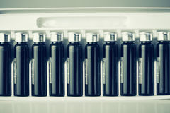 Pack with medicals. Pack of bottles with medicals Stock Images