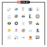 Pack of 25 Modern Flat Colors Signs and Symbols for Web Print Media such as signal, mobile, battery, tv, retro