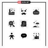 Pack of 9 Modern Solid Glyphs Signs and Symbols for Web Print Media such as lock, money, fitness, dollar, business