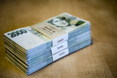 Pack of money - big pile of banknotes Stock Photo