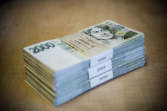 Pack of money - big pile of banknotes Stock Photos