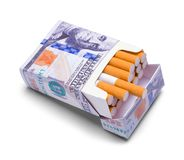 Pack of Money Cigarettes Stock Photography