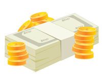 Pack of the money and coins Royalty Free Stock Photos