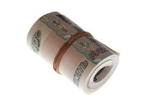 Pack of money curtailed into a ring Royalty Free Stock Images
