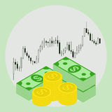 Pack of money on forex stock chart background. Stock Photos