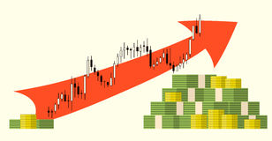 Pack of money on forex stock chart background. Royalty Free Stock Photography