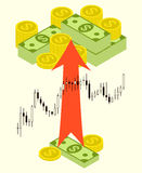 Pack of money on forex stock chart background. Stock Photo