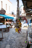 Pack of multicoloured souvenire starfishes seastars hanging. Pack fo multicolour seastar starfishes shaped souvenires hanging with blurred touristic street on Royalty Free Stock Photography