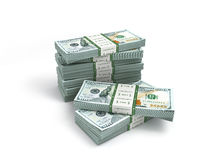 Pack of new dollar bills isolated on white. Pack of new dollar bills isolated on Royalty Free Stock Photo