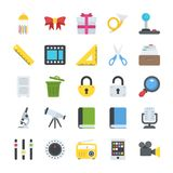 Objects Flat Icons Set. This is a pack of objects related to different everyday activities. The range of icons in this pack are creatively designed to be used Royalty Free Stock Photography