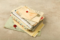 Pack of old letters. Old envelopes and letters stacked in a bundle Stock Images