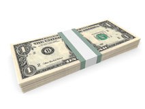 Pack of one dollar bank notes. Royalty Free Stock Image