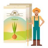 Pack of Onion seeds icon Stock Photography