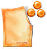 A pack of orange throat lozenges. Illustration of a pack of orange throat lozenges on a white background Royalty Free Stock Photos