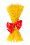 Pack of pasta associated red ribbon bow Stock Images