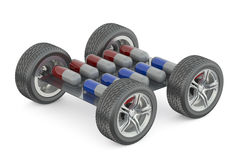 Pack of pills with car wheels Royalty Free Stock Photo