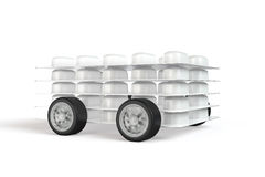Pack of pills with wheels attached Stock Photos