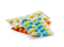 Pack of pills on white Stock Photo