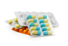 Pack of pills on white Royalty Free Stock Image