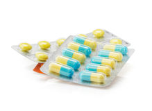 Pack of pills on white Stock Photography