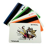 Pack of playing cards with credit cards Royalty Free Stock Images