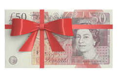 Pack of 50 pound sterling banknotes with red bow, gift concept. Royalty Free Stock Photography