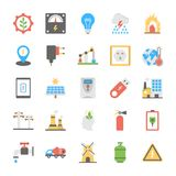 A Pack of Power and Energy Icons. This pack of energy and power flat icons is extremely useful and it contains power, energy, electricity, ecology, solar power Royalty Free Stock Images