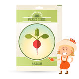 Pack of Radish seeds icon Stock Photography
